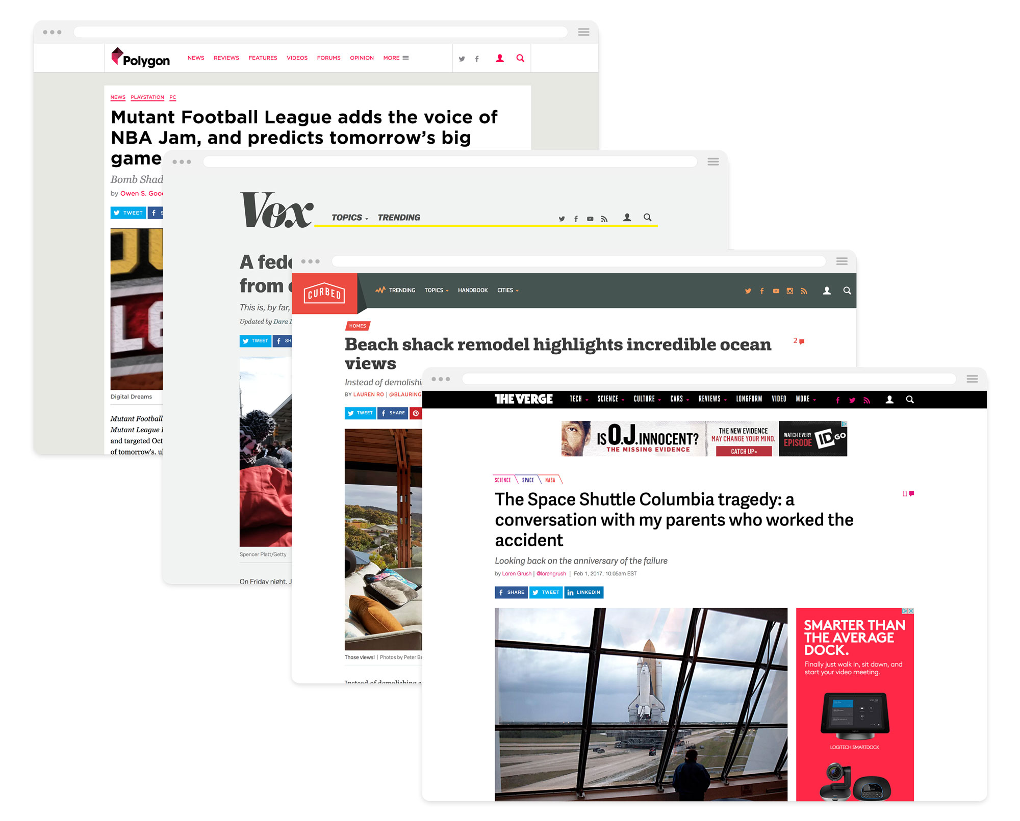 Example of article pages on four brands.