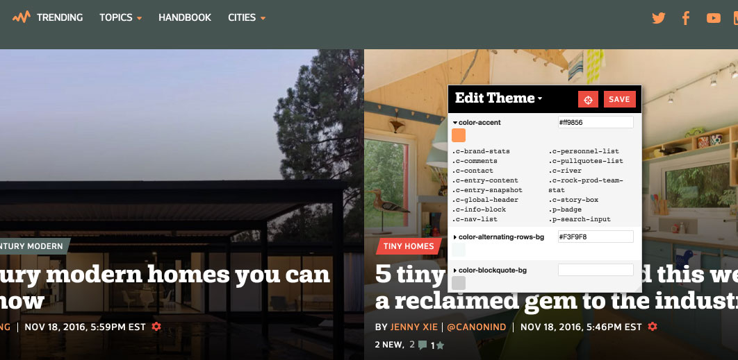 Example of tool we use to theme our sites