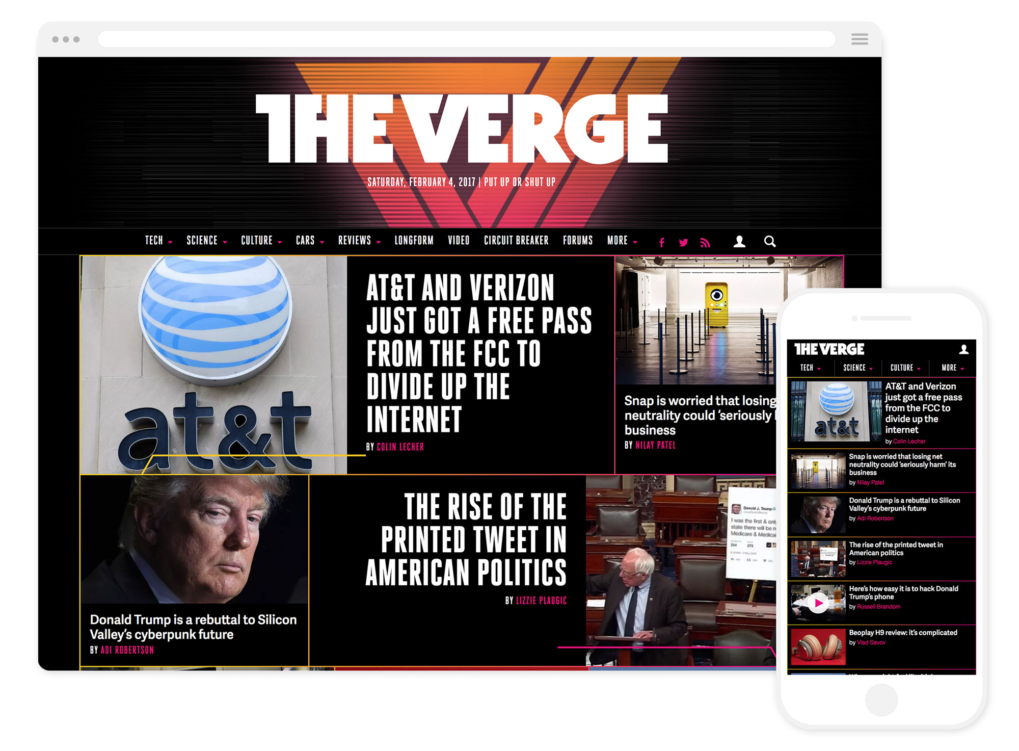 The Verge's brand new homepage